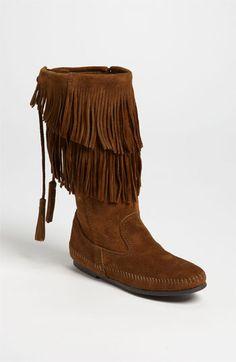 Minnetonka Two Layer Fringed Boot