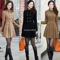 Lady Damen Winter Wolle warme Mäntel Long Jacken Trenchcoat Oberbekleidung ED