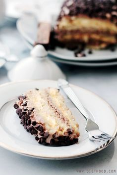 Almond Layer Cake with Whipped Vanilla and Chocolate Frosting @Katerina Petrovska | Diethood