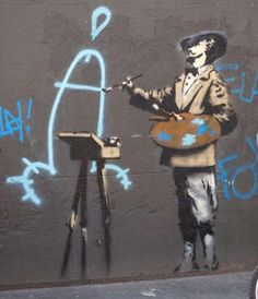 3. Painter - Banksy is overtly mocking fine art and painting.