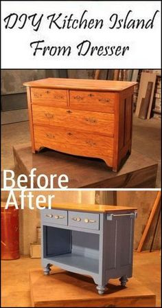 This Old Dresser is Given New Life by Turning it into a Kitchen Island furniture repurpose DIY Dresser Kitchen Island Refurbished Furniture, Repurposed Furniture, Rustic Furniture, Furniture Makeover, Antique Furniture, Outdoor Furniture, Diy Furniture Repurpose, Dresser Repurposed, Upcycled Furniture Before And After