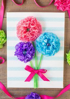 Tissue Paper Flower Bouquet Canvas Tutorial