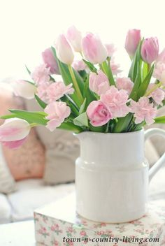 pink tulips, spring tulips, white ironstone pitcher, spring home tour, spring decorating Spring Art, Spring Home Decor, Spring Crafts, Beautiful Flower Arrangements, Floral Arrangements, Beautiful Flowers, Pink Tulips, Pink Flowers, Bouquet