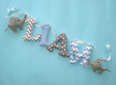 Fabric letters baby blue and gray banner with elephantsbluegray name banner baby boy wall decor Nursery decor felt elephants Nursery Banner, Nursery Fabric, Nursery Name, Nursery Wall Decor, Grey Elephant, Elephant Nursery, Fabric Letters, Felt Gifts, Name Wall Art