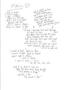 MAGIC by Coldplay. Chris Martin's written lyrics!