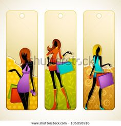vector illustration of set of promotion label of woman with shopping bag - stock vector