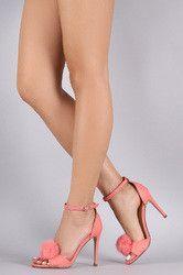 Faux Fur Pom Pom Ankle Strap Stiletto Heel
