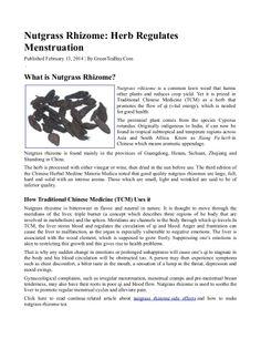 Nutgrass Rhizome: Herb Regulates Menstruation by Eddie Tan via slideshare