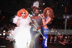 Finalists Kim Chi, Bob the Drag Queen, and Naomi Smalls pose onstage during the RuPaul's Drag Race Season 8 Finale Party at Stage 48 on May 16, 2016 in New York City.