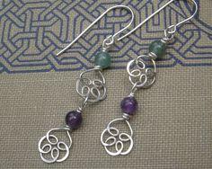 Celtic Knot Flower Long Dangle Silver Earrings - Amethyst and Aventurine Double Swirl. $24.00, via Etsy.