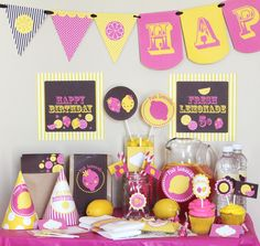 Pink Lemonade Stand Birthday Printable DIY by stockberrystudio, $10.00