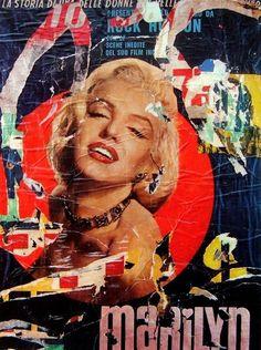 mimmo rotella - Marilyn Monroe decollage