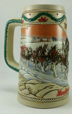 "1996 Budweiser beer Holiday stein. "" American Homestead"""