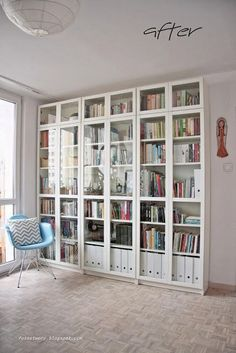 library, living room, Ikea bookcases and two cozy chairs……. Ikea her… Ikea Billy Bookcase Hack, Billy Bookcases, Bookshelves Ikea, Rustic Bookshelf, Room Shelves, Billy Bookcase Office, Rooms Home Decor, Room Decor, Bookcase With Glass Doors
