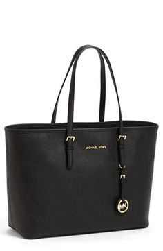 $298, Michl Michl Kors Saffiano Leather Tote Black by MICHAEL Michael Kors. Sold by Nordstrom. Click for more info: http://lookastic.com/women/shop_items/138164/redirect
