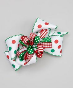 Take a look at this Red & Green Loop Bow Clip Set by Picture Perfect Hair Bows on #zulily today!