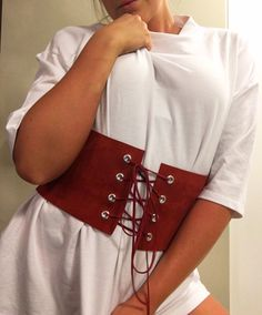 Thick Red Leather Corset Belt by ArchedLines on Etsy