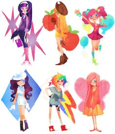 cute humanization of Twilight Sparkle, Applejack, Pinkie Pie, Rarity, Rainbow Dash, and Fluttershy.
