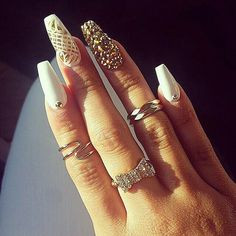 Killin' it, Gold and White nails, rings, Glitter, Pretty Nail Designs, Awesome Nails