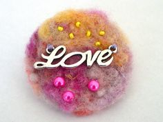 Pink and Yellow Hand Dyed Brooch  Love Charm with by Pookledo, £4.00