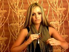 several different ways to wear a scarf charm with a fringed scarf