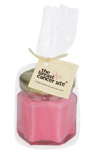 """Breast Cancer Site Light of Awareness Candle at The Breast Cancer Site  These make the nicest gift to share while supporting such an important cause. The tagged message shares your cause and dedication to your """"receiver"""".   PLUS Get Free Shipping/Free Pink Rings"""