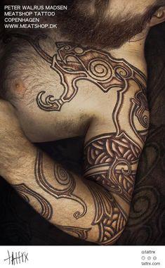 Peter Madsen Meatshop Tattoo - Red Dotwork Sleeve.jpg (700×1133)