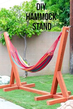 DIY Hammock stand using 3 power tools! ,Beginner Woodworking Projects Easy and simple DIY Hammock stand using only 3 power tools! Plans, video and full tutorial on how to build a wooden hammock stand. Perfect for the backyard! Woodworking Projects Diy, Diy Wood Projects, Outdoor Projects, Woodworking Tools, Diy Backyard Projects, Woodworking Apron, Outdoor Crafts, Weekend Projects, Woodworking Techniques