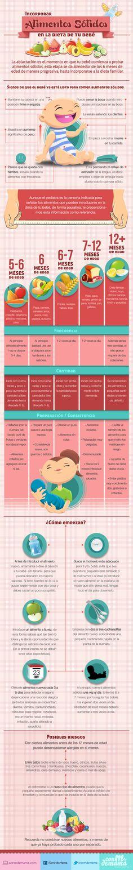 Tu bebé quizá ya necesite en su dieta alimentos sólidos. Esta #Infografía te dará las claves para incluirlos poco a poco.