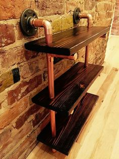 Products Reclaimed Wood and Copper Pipe Shelf, Handmade, Industrial Your Own Home Interior Ideas 200 Wood, Staining Wood, Shelves, Copper Diy, Wood Shelves, Black Wood Stain, Home Diy, Shelf Design, Copper Furniture