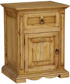 Place this sturdy nightstand next to your bed for a rustic southwestern look. There's a drawer as well as a cabinet for books, magazines, lotions, and all your bedtime essentials. This piece of furniture has been handmade in old Mexico by skilled craftsmen. It can also be used as a small TV/video stand with storage space underneath for DVDs and videos.