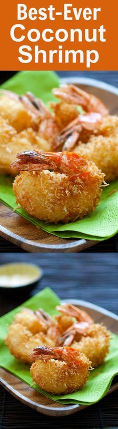 Coconut shrimp - the best and crispiest coconut shrimp recipe ever! Takes 20 mins, an easy and budget-friendly shrimp appetizer   rasamalaysia.com