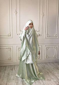 Elegant Muslim mint suit, Silk wedding jilbab, bridal khimar, engagement islamic dress, nikah outfit, lace burqa Niqab Fashion, Muslim Fashion, Fashion Dresses, Silk Satin Dress, Satin Dresses, Abaya Pattern, Hijab Style Dress, Pakistani Outfits, Beauty Full Girl