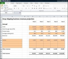Drop Shipping Business Revenue Projection - Plan Projections