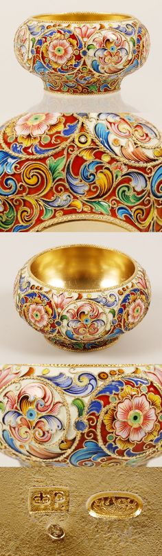 A Russian silver gilt and shaded cloisonne enamel bowl, Feodor Ruckert, Moscow, 1896-1908. The bombw-shape bowl completely worked in vibrant mulit-color scrolling floral and foliate motifs against alternating cream and red grounds