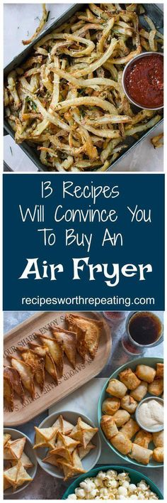 """There is a healthy way to make french fries wings wontons chicken tenders and more! Ive got 13 Air Fryer recipes that are beyond delicious and easy to make that won't make you feel guilty about eating those """"fried food"""" classics you love most! Air Fryer Oven Recipes, Air Fryer Dinner Recipes, Recipes Dinner, Breakfast Recipes, Dessert Recipes, Cooks Air Fryer, Making French Fries, Comida Boricua, Actifry Recipes"""