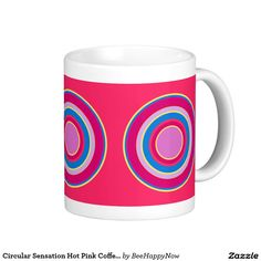 Circular Sensation Hot Pink Coffee Cup Classic White Coffee Mug