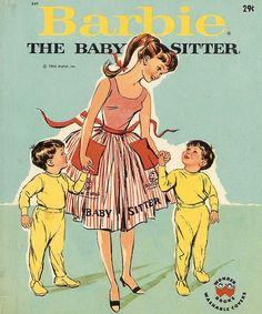 Vintage 1964 Barbie the Babysitter, Wonder Book 6 Vintage Paper Dolls, Vintage Barbie Dolls, Vintage Children's Books, Mattel Barbie, Barbie And Ken, Barbie Box, Barbie Stuff, Barbie Dream, Vintage Stuff