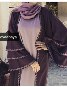 Burqa Designs, Abaya Designs, Islamic Fashion, Muslim Fashion, Mode Kimono, Modern Abaya, Modele Hijab, Hijab Outfit, Hijab Dress