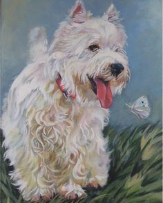West Highland Terrier westie art print CANVAS print of LA Shepard painting 8x10 dog art. $19.98, via Etsy.