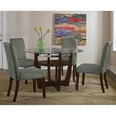 Alcove Dinette With 4 Side Chairs   Sage