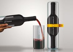 """A clever gift given by Romania based design firm Ampro Design to all new clients. This bottle has two necks and two integrated cups. Check it out below. """"The """"Design Business Bottle"""" was made to capture the essence of our business in conection with the client's business, and thatswhy we designed a bottle with 2 necks: one for us, and one for the client, afterall don't we all drink from this businesss?"""