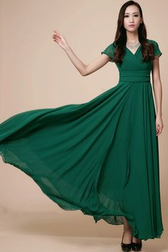 Emerald green dark forest deep bridesmaid dress bridesmaids long chiffon short sleeve