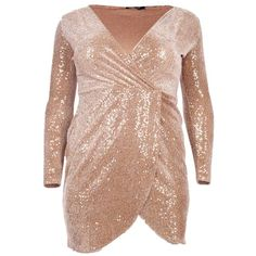 Boohoo Plus Maria Sequin Velvet Wrap Dress | Boohoo (200 ILS) ❤ liked on Polyvore featuring dresses, beige dress, sequin velvet dress, boohoo dresses, wrap dress and beige sequin dress
