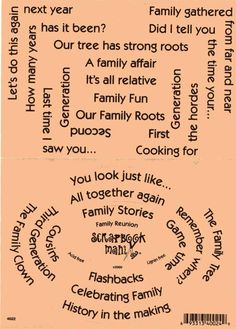 Family Quotes For Scrapbooking   Scrapbook Mania Stickers Family Reunion Words Sayings   eBay
