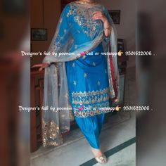Embroidery Suits Punjabi, Embroidery Suits Design, Embroidery Designs, Indian Dresses Traditional, Traditional Outfits, Designer Punjabi Suits, Indian Designer Wear, Indian Party Wear, Indian Wear