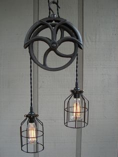 RESERVED for Lisa / Upcycled Vintage Well Pulley Pendant Light with Bulb Cages. $196.00, via Etsy.