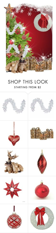 """Xmas tree :: 061216"" by irafra ❤ liked on Polyvore featuring interior, interiors, interior design, home, home decor, interior decorating, Home Decorators Collection, National Tree Company, Amara and Shea's Wildflower Company"