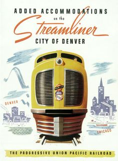 Union Pacific and Chicago & Northwestern (CNW) Railroads - City of Denver - Diesel-Electric Streamliner Service - EMD Type M-10003 (Road No. CD-07) - Chicago to Denver - Vintage Rail Poster - 1937