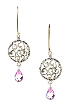 Two-Tone Swirl Drop Diamond & Pink Sapphire Earrings <3